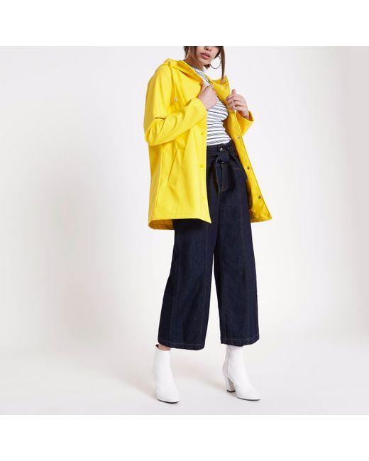 River Island - Yellow Waterproof Hooded Rain Mac - Lyst