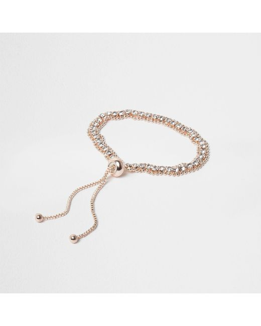 River Island - Metallic Rose Gold Tone Diamante Lariat Bracelet - Lyst
