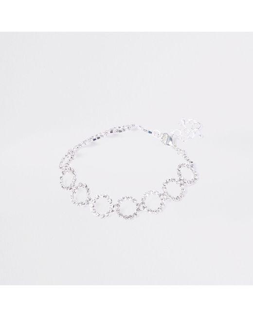 River Island - Metallic Tone Diamante Circle Bracelet - Lyst