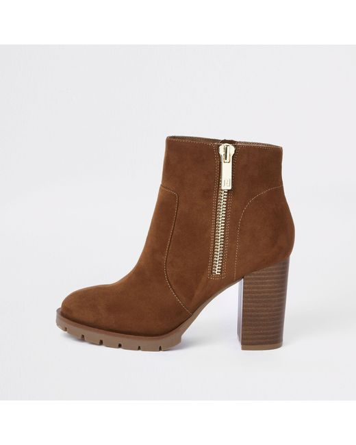 River Island - Brown Suede Side Zip Block Heel Ankle Boots - Lyst