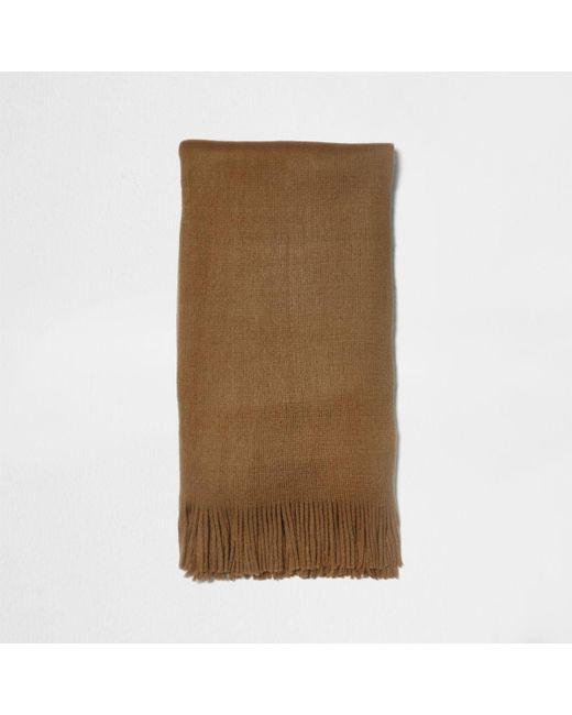 River Island | Brown Camel Blanket Scarf for Men | Lyst