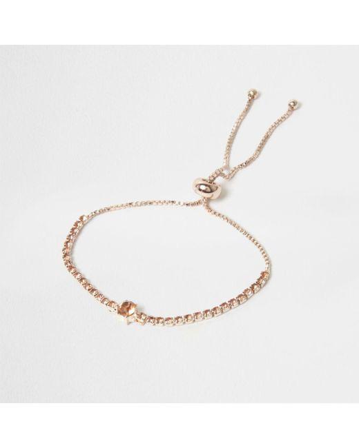 River Island   Metallic Rose Gold Tone Cup Chain Lariat Bracelet Rose Gold Tone Cup Chain Lariat Bracelet   Lyst