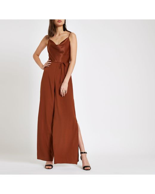 a5b9c36730f River Island Brown Cowl Neck Wide Leg Jumpsuit in Brown - Lyst