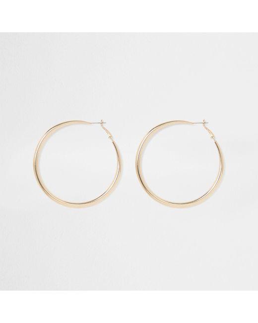 River Island - Metallic Gold Tone Hoop Earrings - Lyst