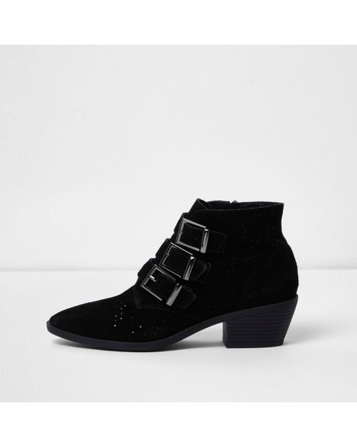 River Island | Black Triple Buckle Suede Western Boots | Lyst