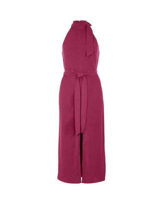 River Island | Dark Pink Sleeveless Belted High Neck Dress | Lyst