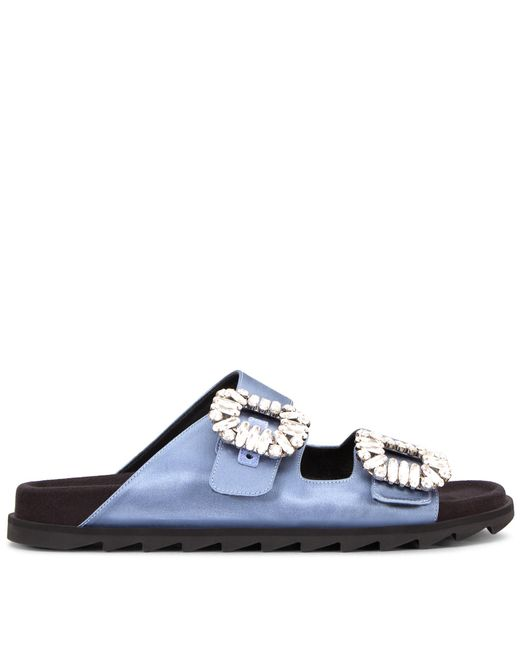Roger Vivier - Blue Slidy Viv' Strass Buckle Sandals In Silk Satin - Lyst