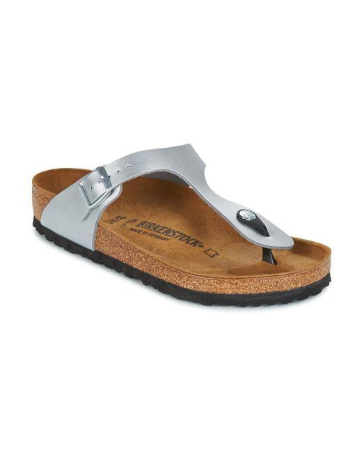 Birkenstock - Metallic Women's Gizeh Birko-flor T-strap Sandals - Silver - Lyst