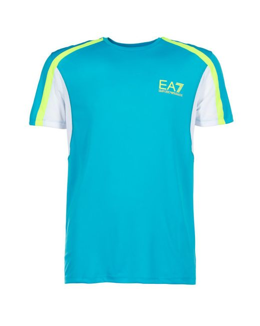 EA7 - Blue Short Sleeved T-shirt for Men - Lyst