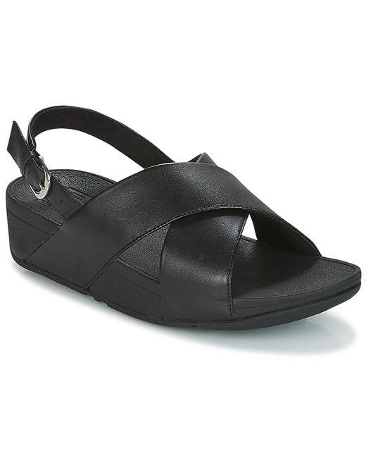 f4edbdb4e Fitflop - Black Lulu Cross Back-strap Sandals - Leather Sandals - Lyst ...