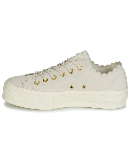 Natural Chuck Taylor All Star Platform Frilly Thrills Suede Ox Women's Shoes (trainers) In Beige
