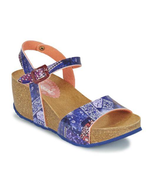 Desigual - Blue Bio 7 Denim Patch Sandals - Lyst