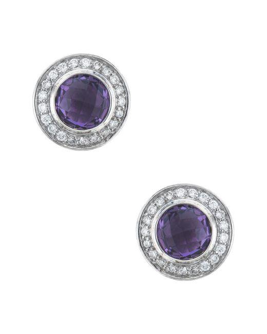 David Yurman - Metallic David Yurman Cerise Silver 0.22 Ct. Tw. Diamond & Amethyst Studs - Lyst