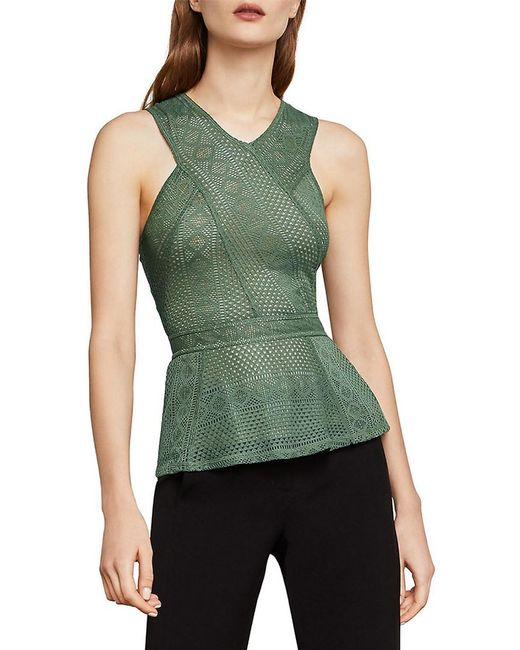BCBGMAXAZRIA - Green Hanne Geometric Lace Peplum Top - Lyst