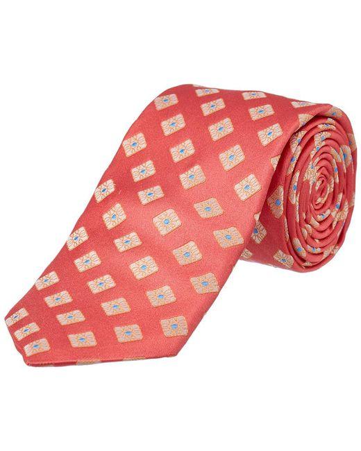 Ike Behar - Pink Salmon Summer Squares Silk Tie for Men - Lyst