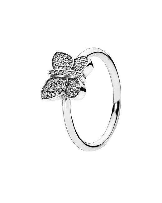 Pandora - Metallic Silver Cz Butterfly Ring - Lyst