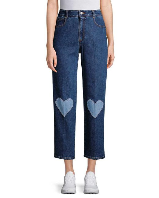 Stella McCartney - Blue Heart Patch Crop Pant - Lyst