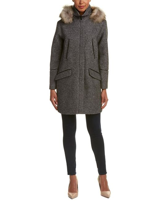 SOIA & KYO - Gray Alanna Classic Wool-blend Coat - Lyst
