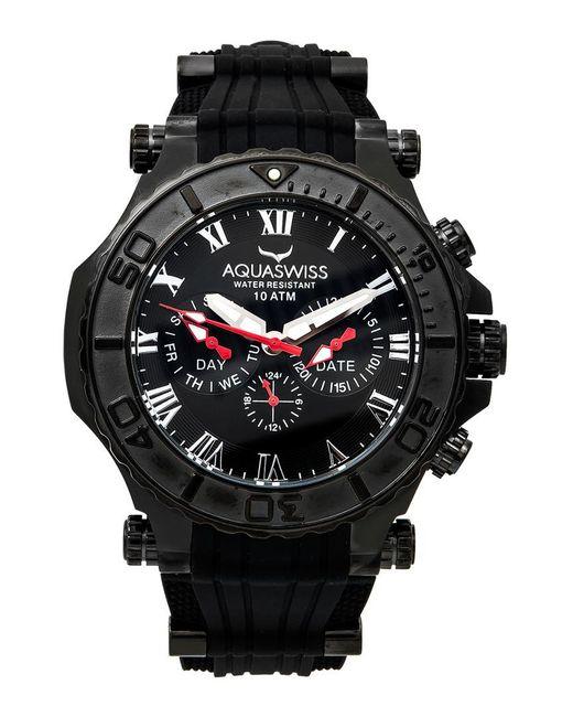 lyst aquaswiss men s bolt 5h watch in black for men save
