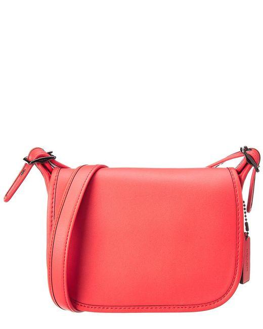 COACH - Orange Glovetanned Leather Saddle Bag 18 - Lyst