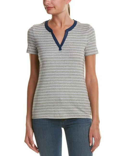 Three Dots - Gray Esther Henley T-shirt - Lyst