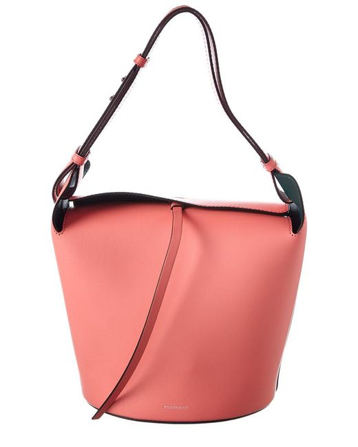 Bag Leather Bucket Medium Burberry Pink Lyst In ZnOqaW