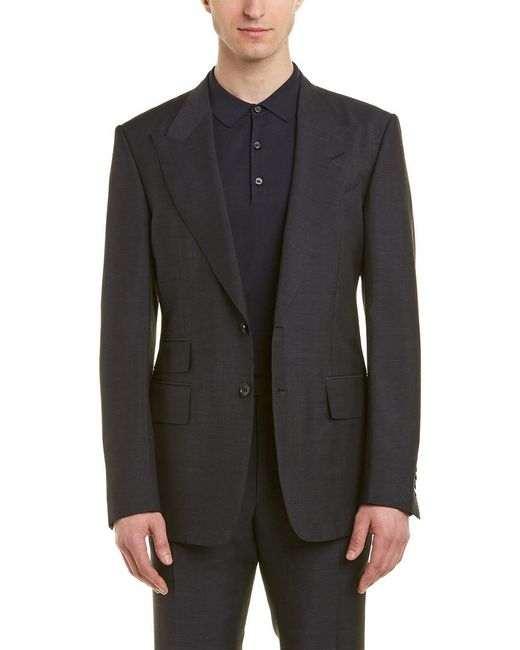 Tom Ford Black O'connor 2pc Wool, Mohair, & Silk-blend Suit With Flat Pant for men