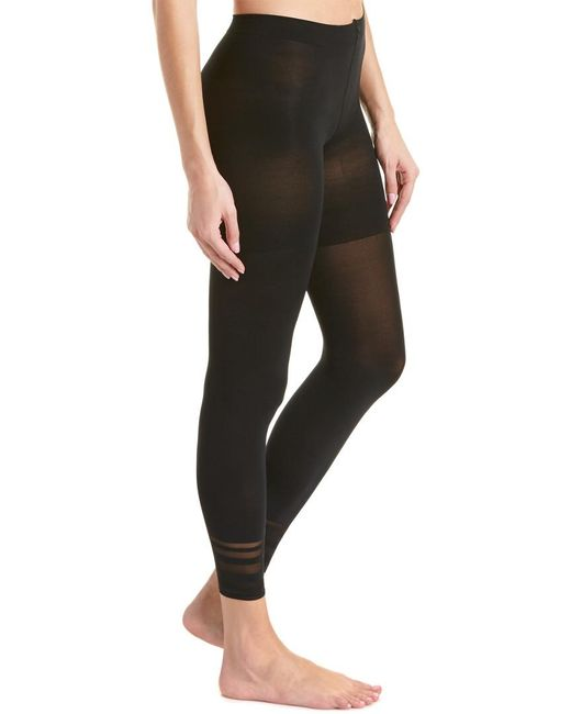Spanx - Black ® Floating Lines Footless Tights - Lyst
