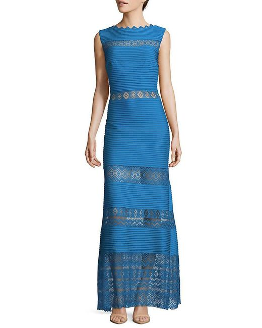 Tadashi Shoji - Blue Pintuck Gown - Lyst
