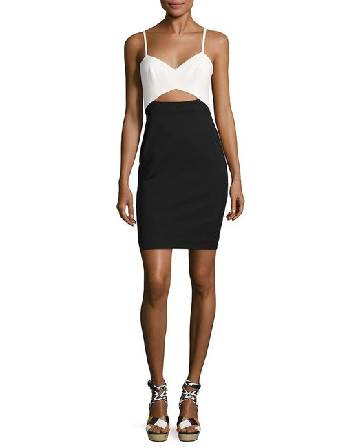 French Connection - Black Lolo Colorblocked Stretch Sheath Dress - Lyst