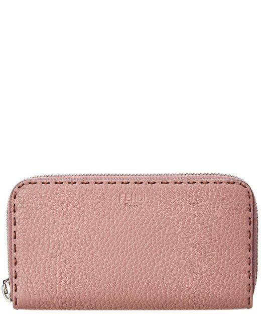 Fendi - Pink Leather Zip Around Wallet - Lyst