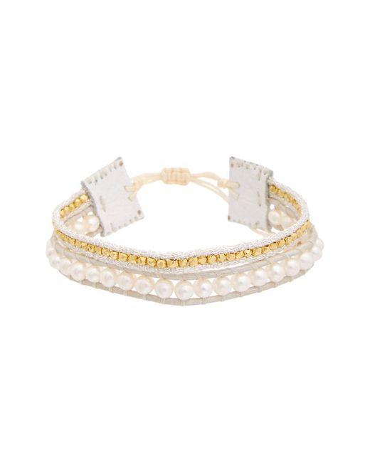 Chan Luu - Metallic 18k Over Silver 4mm Pearl Leather Adjustable Bracelet - Lyst