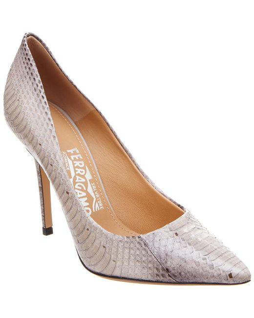 Ferragamo - Gray Susi Embossed Leather Pump - Lyst