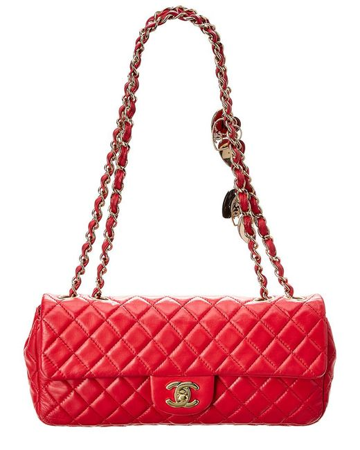 de97a67198bd Chanel Red Quilted Lambskin Leather Medium Valentine Flap Bag In