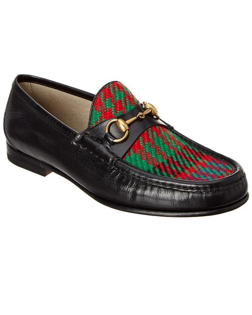 5d64fb847bd Lyst - Gucci Leather   Tweed Loafer in Black for Men - Save 3%