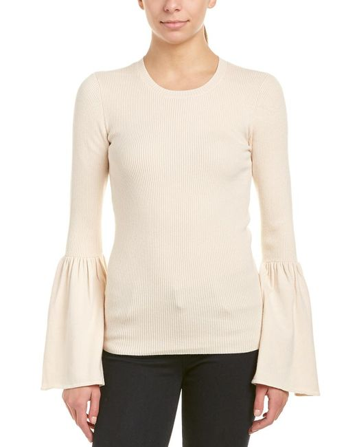 BCBGMAXAZRIA - Natural Bell-sleeve Wool-blend Sweater - Lyst