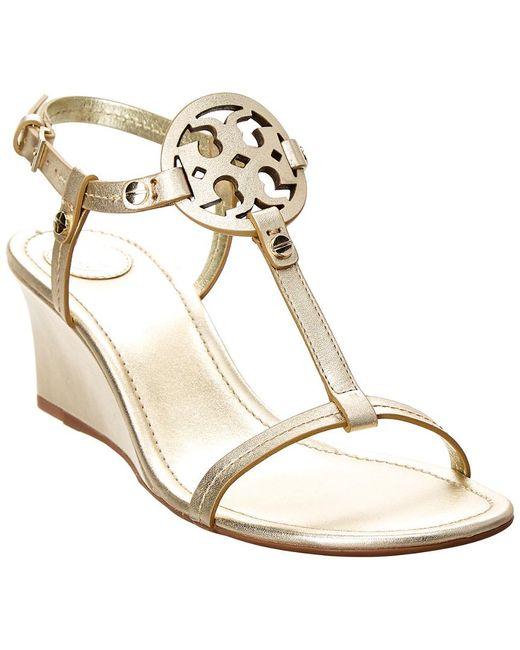 Tory Burch - Metallic Miller T Strap Logo Wedge Sandals - Lyst
