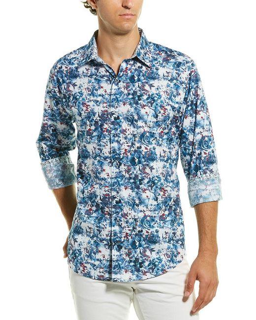 Robert Graham Blue Harz Classic Fit Woven Shirt for men