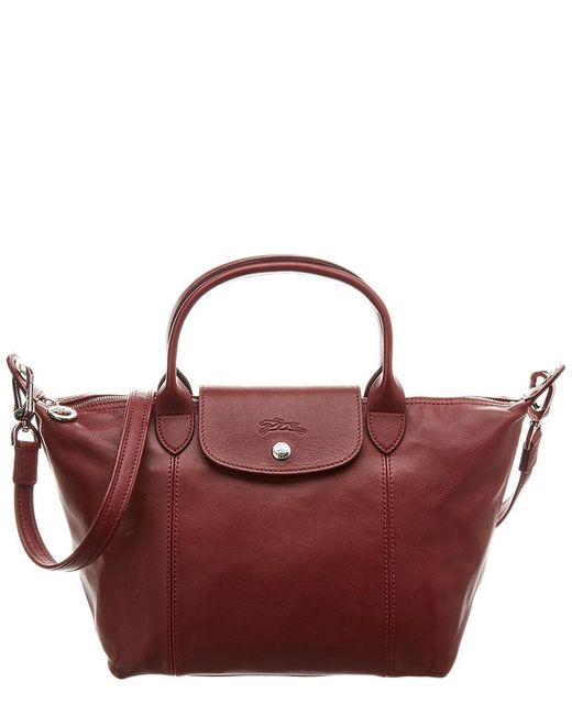 Longchamp Red Le Pliage Cuir Small Leather Short Handle Tote