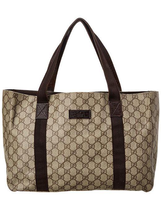6b93b63303ce Gucci Brown GG Supreme Canvas & Leather GG Tote in Brown - Lyst