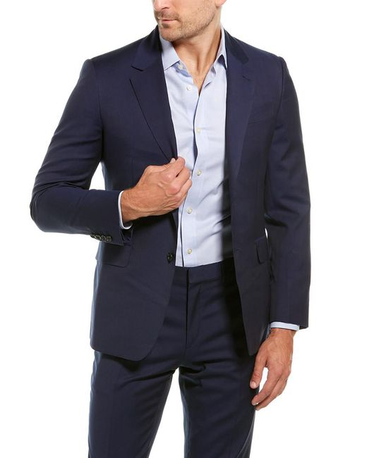 Brioni Blue 2pc Wool Suit With Flat Pant for men