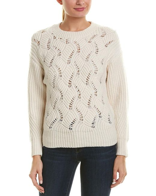 Rebecca Taylor - Natural Embellished Wool-blend Sweater - Lyst