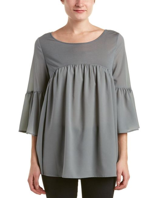 French Connection - Green Polly Plains Shirred Blouse - Lyst