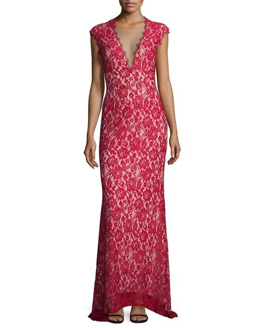Aidan Mattox - Red Lace Gown - Lyst