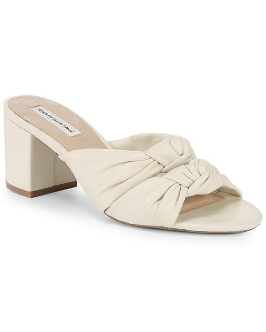 Saks Fifth Avenue - White Knot Leather Sandal - Lyst