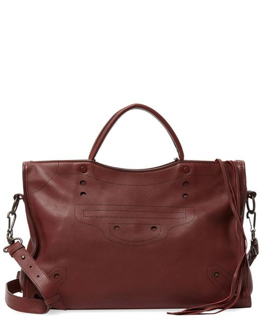 Balenciaga - Red Blackout City Medium Leather Shoulder Bag - Lyst