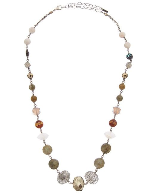 Chan Luu Metallic Silver Gemstone Necklace
