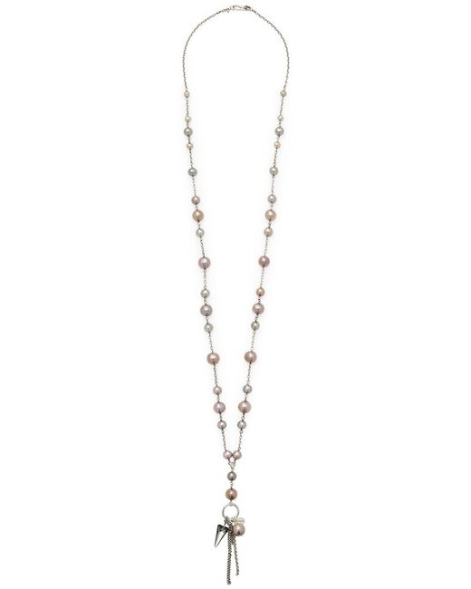 Chan Luu - Metallic Silver Beads & Tassle Station Necklace - Lyst
