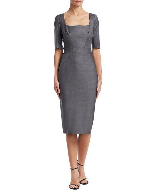 Zac Posen - Gray Squareneck Sheath Dress - Lyst