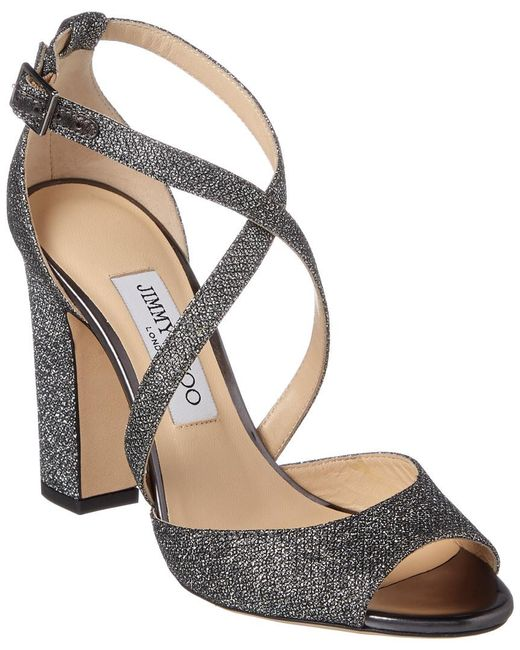 Jimmy Choo - Metallic Carrie 100 Lame Glitter Peep-toe Sandal - Lyst
